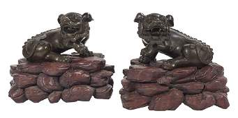 Pair of Chinese Bronze Foo Dogs on Stands