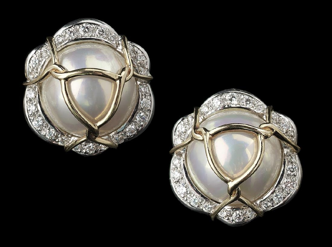 "Pair of Verdura ""Diana"" Pearl & Diamond Ear Clips"