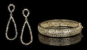 Diamond Bracelet and Earring Suite