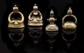 Four Antique Carnelian Intaglio Watch Fobs
