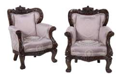 Large Pair of Carved Mahogany Armchairs