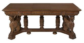 American Late Victorian Carved Oak Library Table