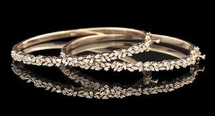 Two Diamond Bangle Bracelets