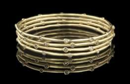 Four Diamond Bangle Bracelets
