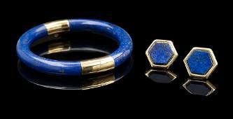 Lapis Lazuli and Gold Bracelet and Earrings