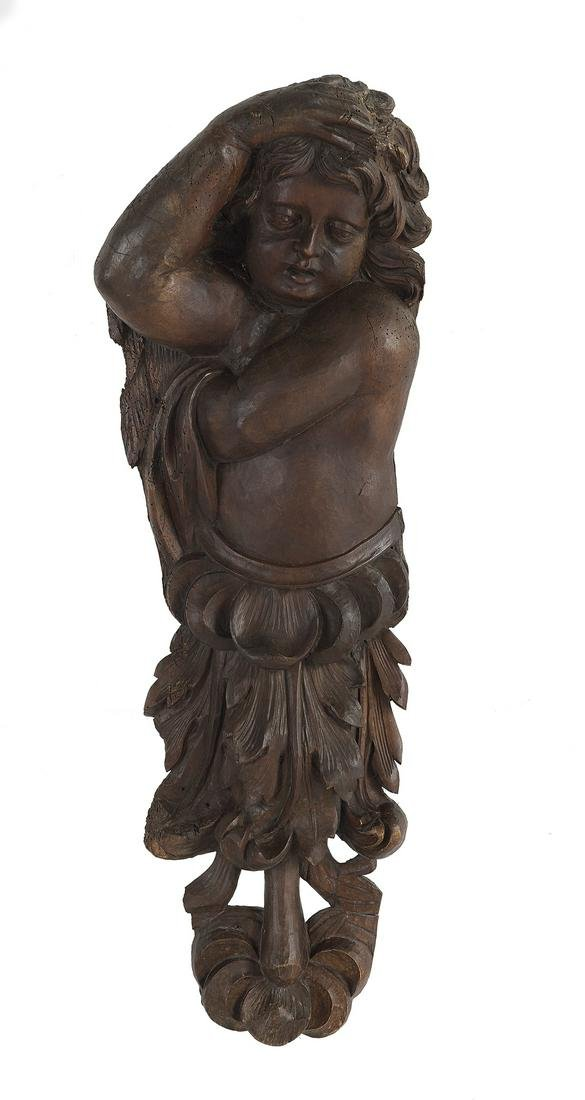 Handsome Continental Carved Walnut Putto
