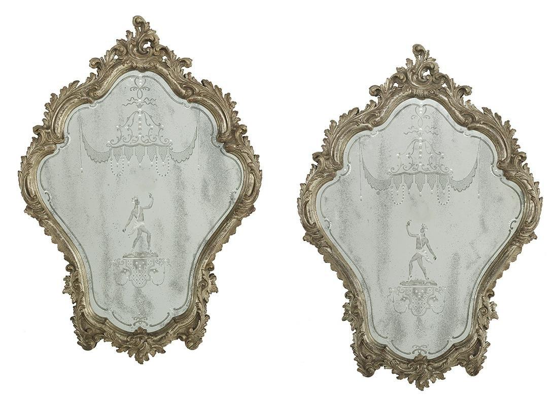 Pair of Venetian Rococo-Style Mirrors