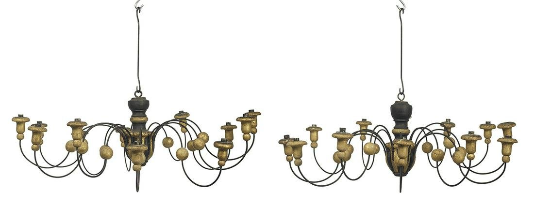 Pair of Parcel-Gilt Wood and Metal Chandeliers