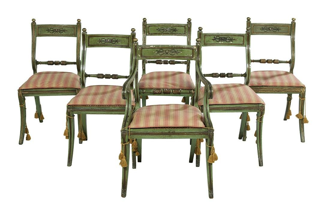 Six Continental Neoclassical Polychrome Chairs