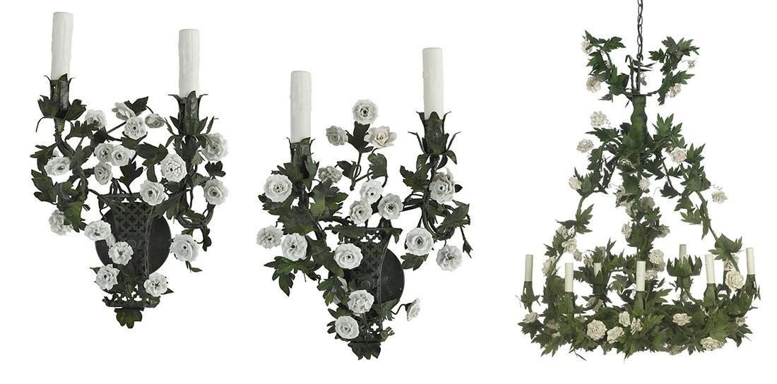 Italian Enamel & Porcelain Chandelier & Sconces