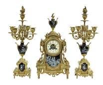 French GiltBronze and Enamel Clock Set