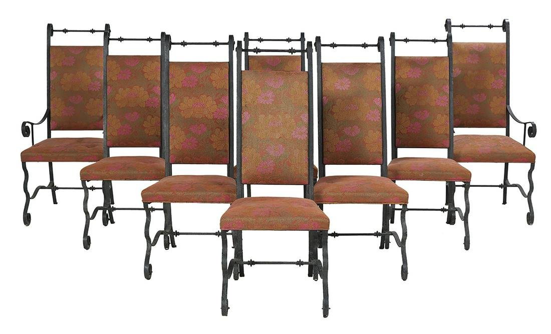 Eight Italian-Style Wrought Iron Dining Chairs