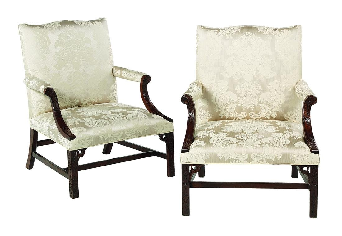 Pair of George III-Style Mahogany Lolling Chairs