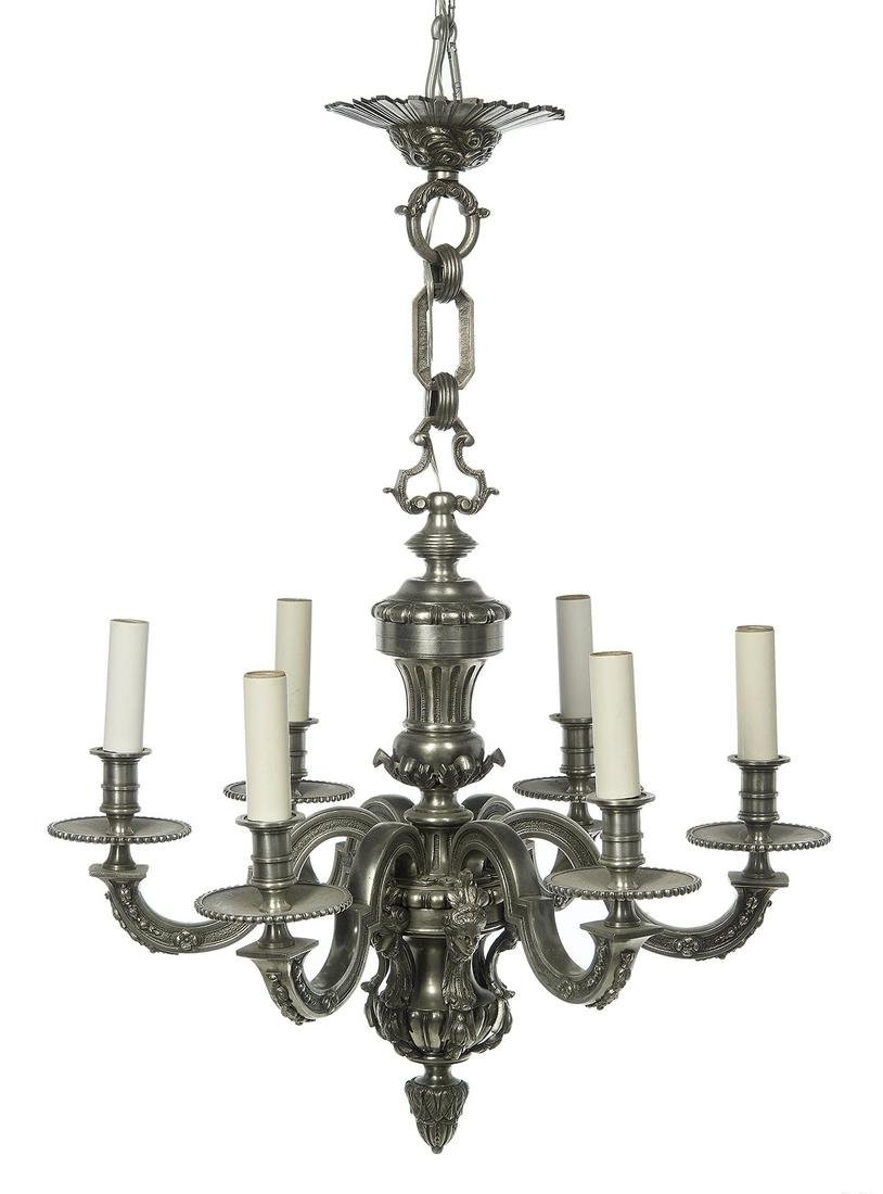 French Baroque-Style Silvered Bronze Chandelier