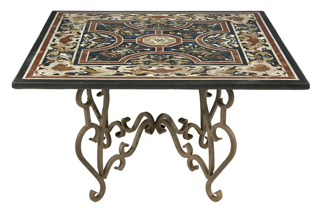 Pietra Dura and Wrought Iron Center Table