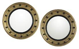 Pair of English Giltwood Convex Mirrors