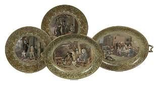 Four Fenton Prattware Pottery Dessert Dishes