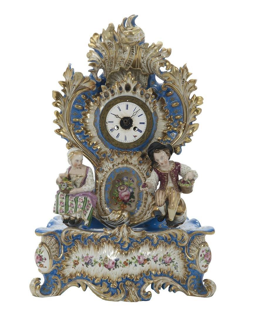 Jacob Petit Paris Porcelain Figural Mantel Clock