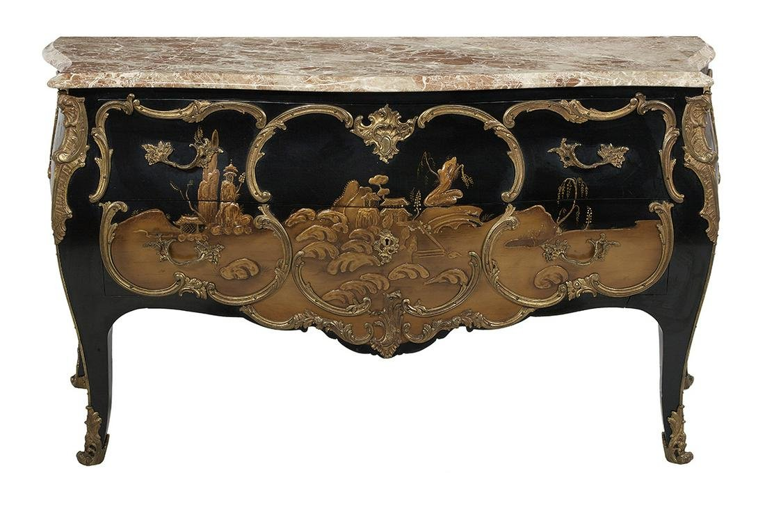 Louis XV-Style Black Chinoiserie Commode