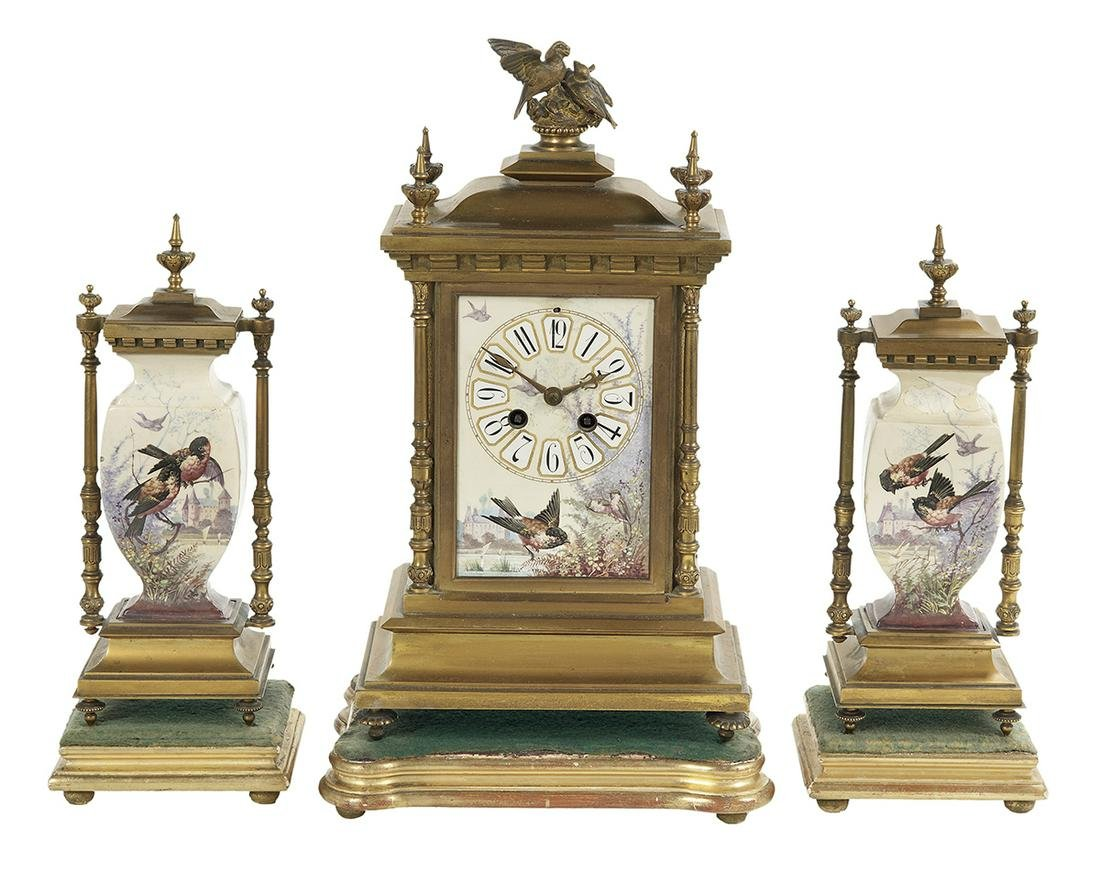 French Gilt-Bronze and Pottery Clock Set
