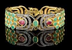 Unusual Green Quartz, Ruby and Diamond Bracelet