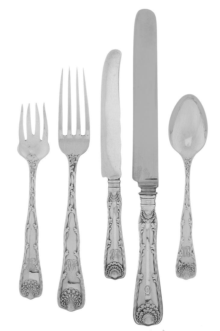 "Tiffany & Co. ""Wave Edge"" Silver Flatware Set"