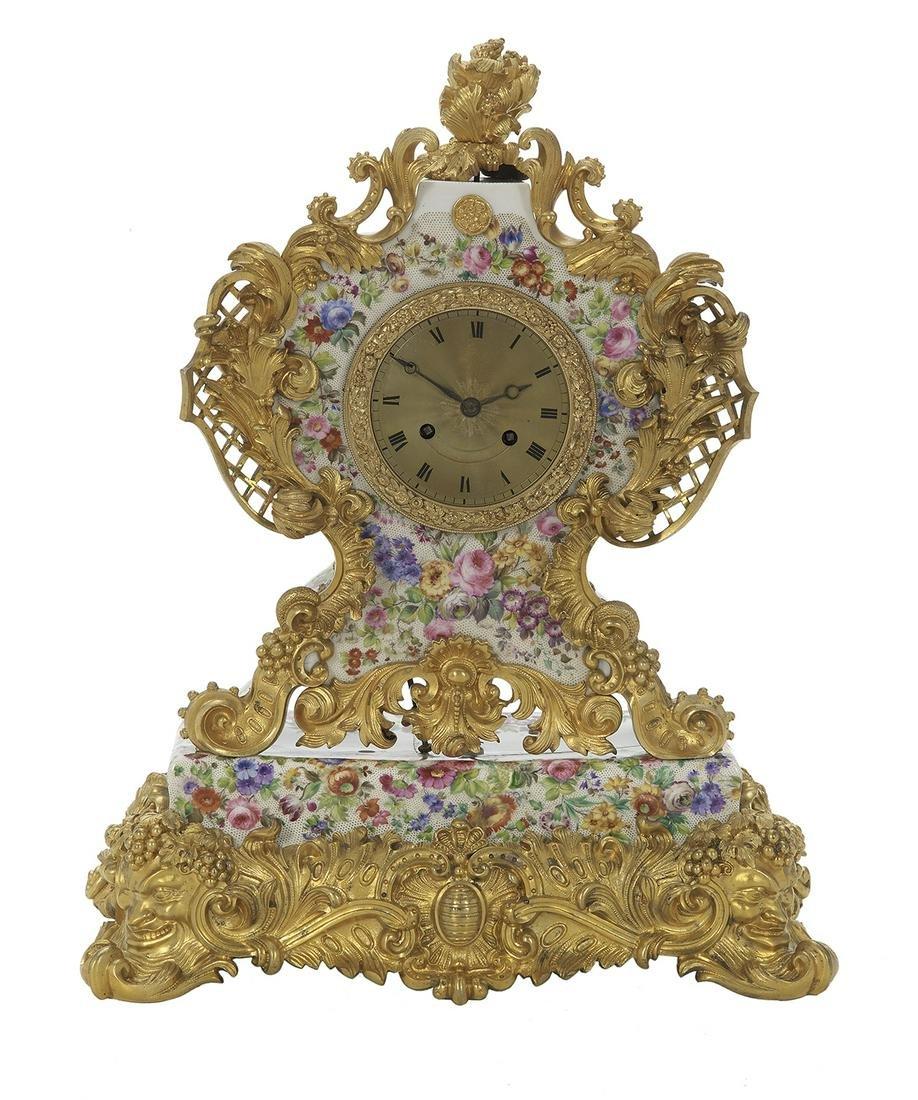 Rare Bronze Dore and Porcelain Clock