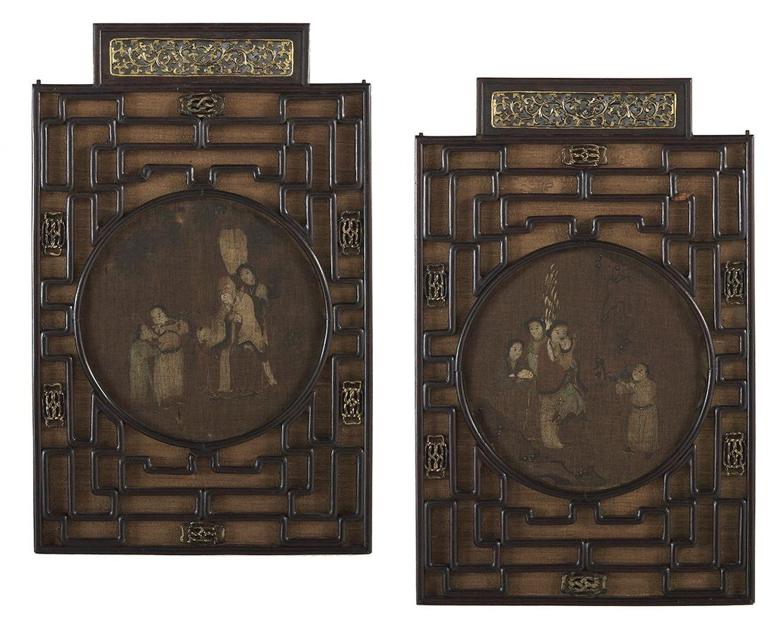 Two Chinese Painted Silk Panels