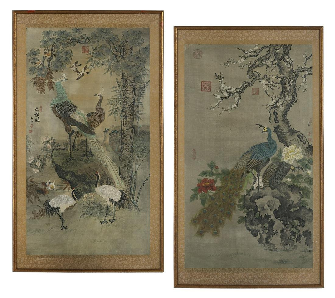 Two Chinese Silk Paintings of Birds