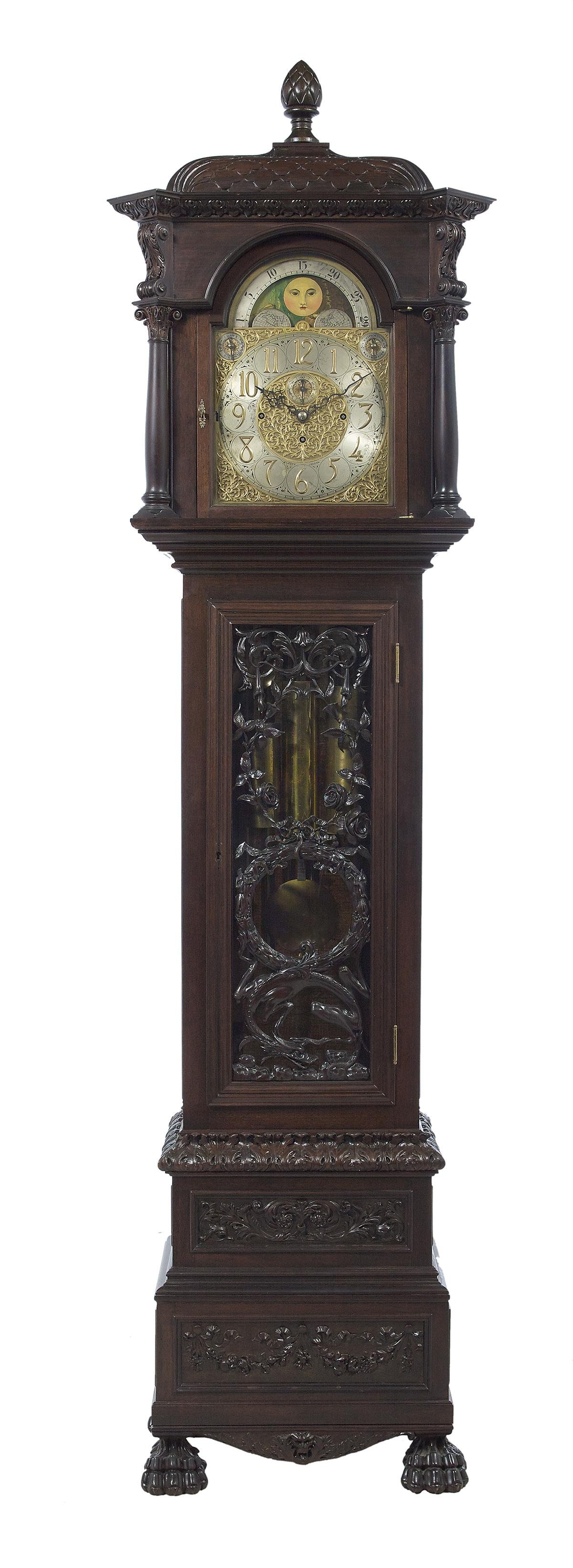 Large English Mahogany Nine-Tube Tall Case Clock