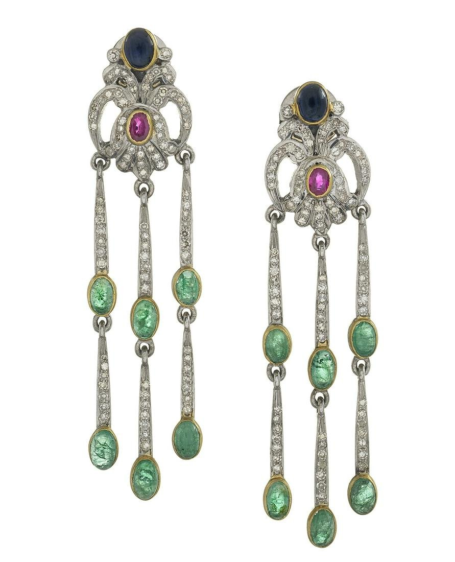 Pair of Diamond and Colored Gemstone Earrings
