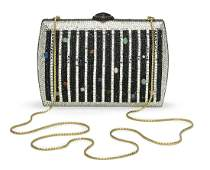 Judith Leiber Silver and Black Striped Minaudiere