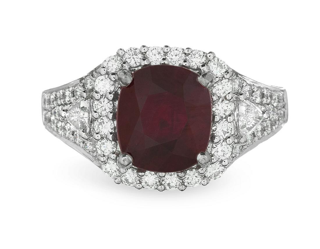 "Burmese ""Pigeon Blood"" Ruby and Diamond Ring"