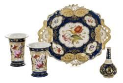 Four Pieces of English Cobalt and Gilt Porcelain