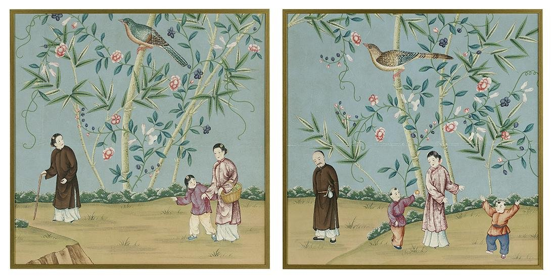 Pair of Gracie, NY, Chinoiserie Wallpaper Panels