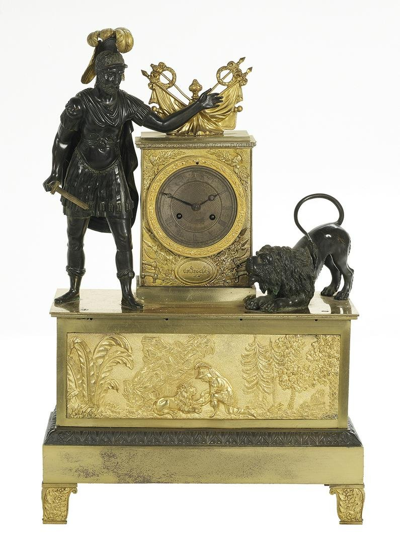 French Empire Bronze Dore et Patine Figural Clock