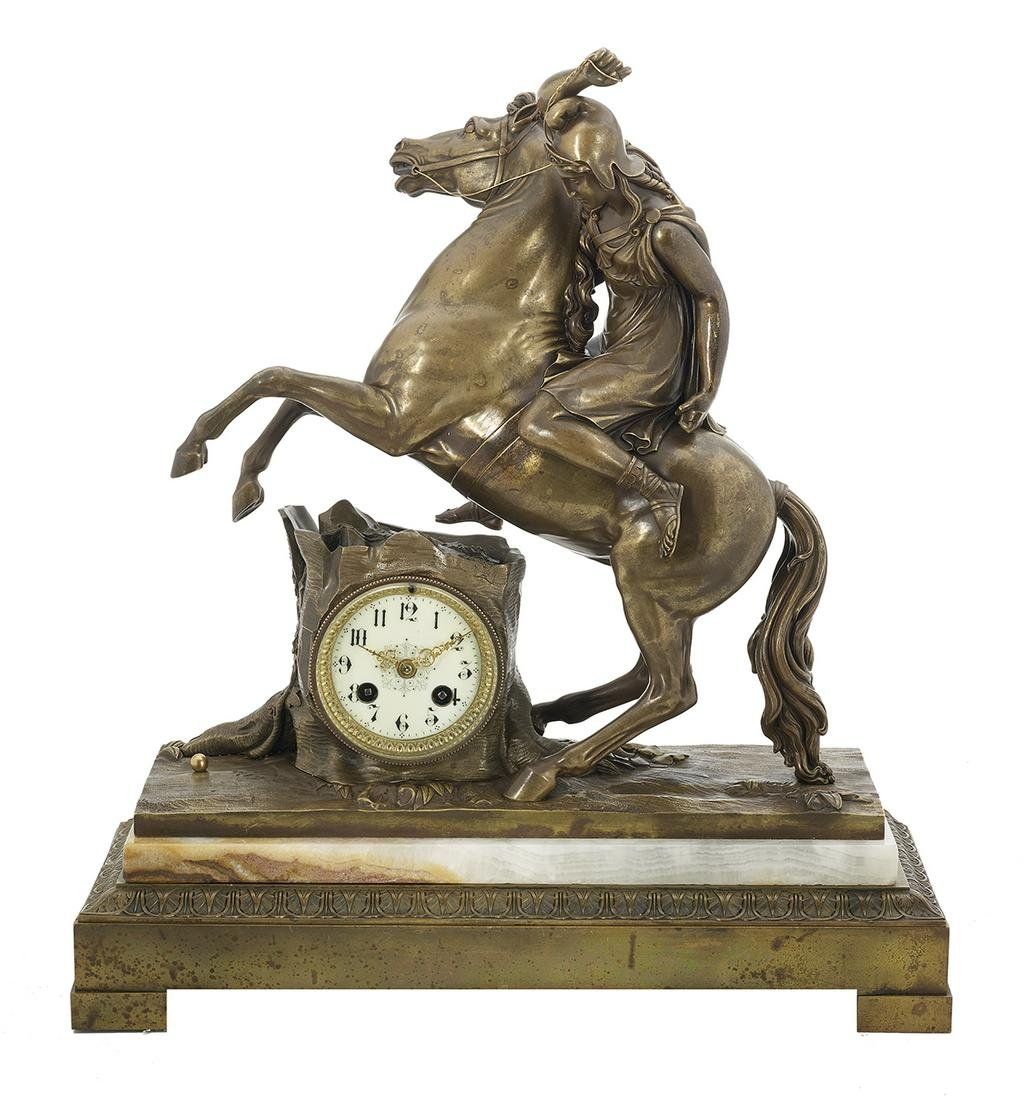 Bronze and Alabaster Figural Mantel Clock