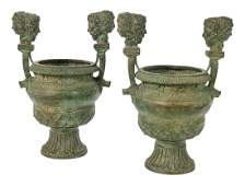 Pair of Patinated Bronze Urns