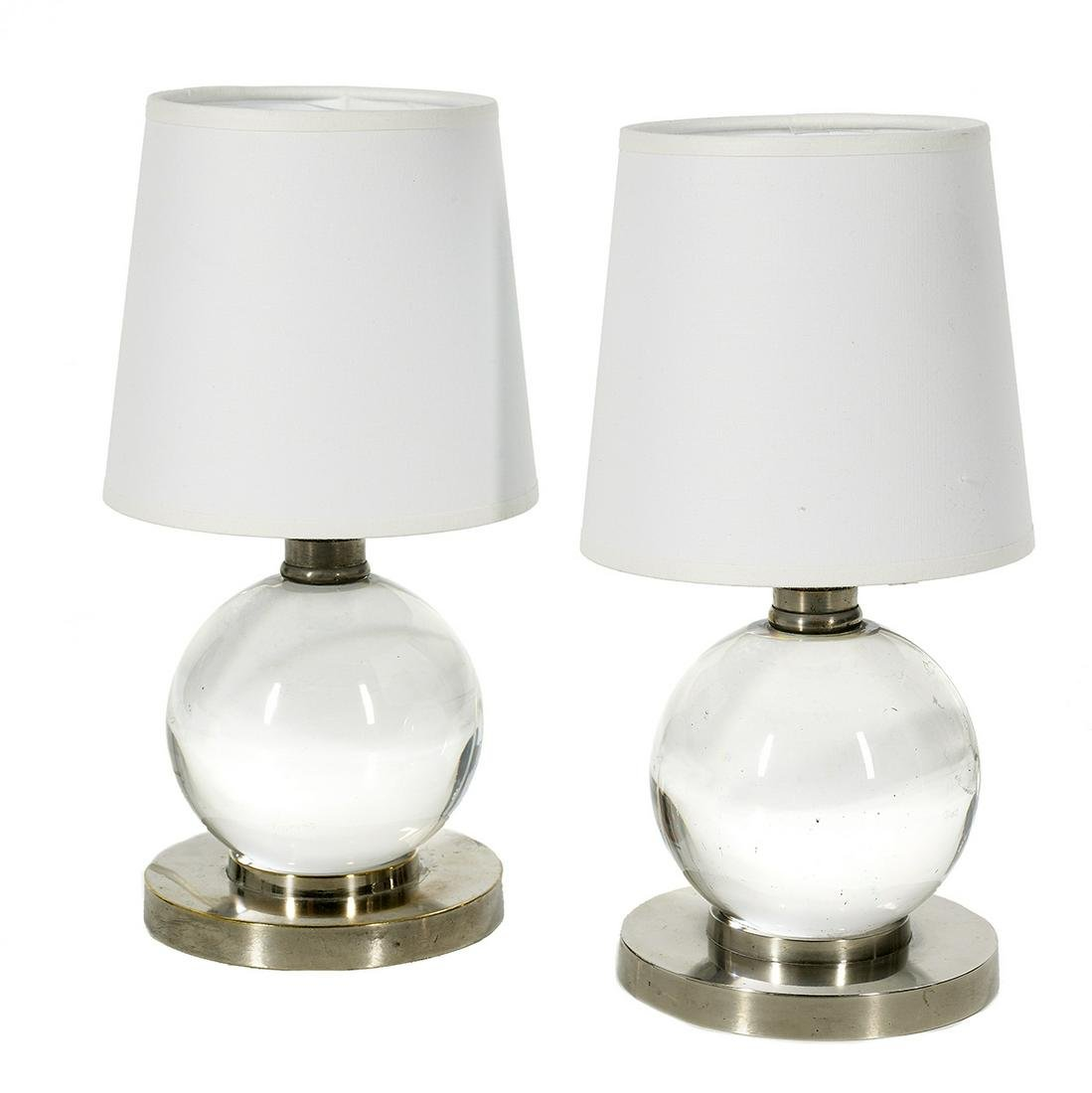 Pair of Jacques Adnet and Baccarat Table Lamps