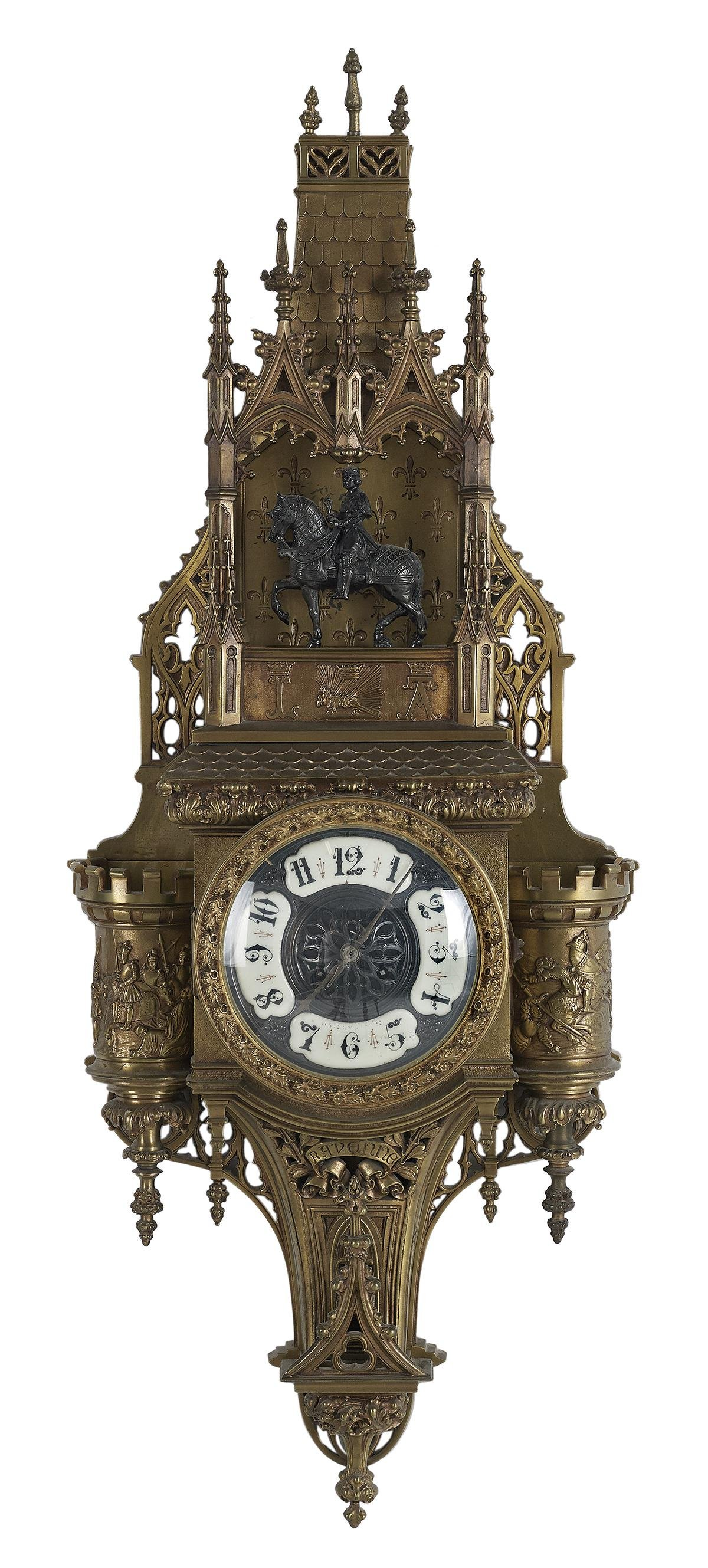 Unusual French Gothic Revival Bronze Cartel Clock
