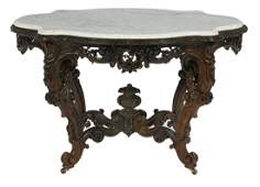 American Rosewood and Marble Top Center Table