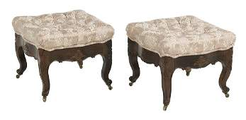 Pair of American Rococo Revival Rosewood Stools