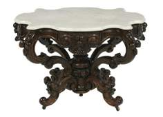 American Rosewood and MarbleTop Center Table