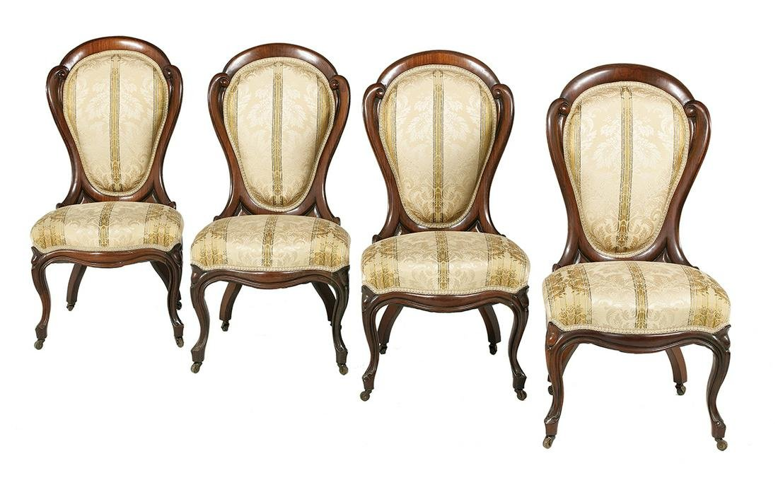 """Four Rosewood  """"Ribbon Pattern"""" Side Chairs"""