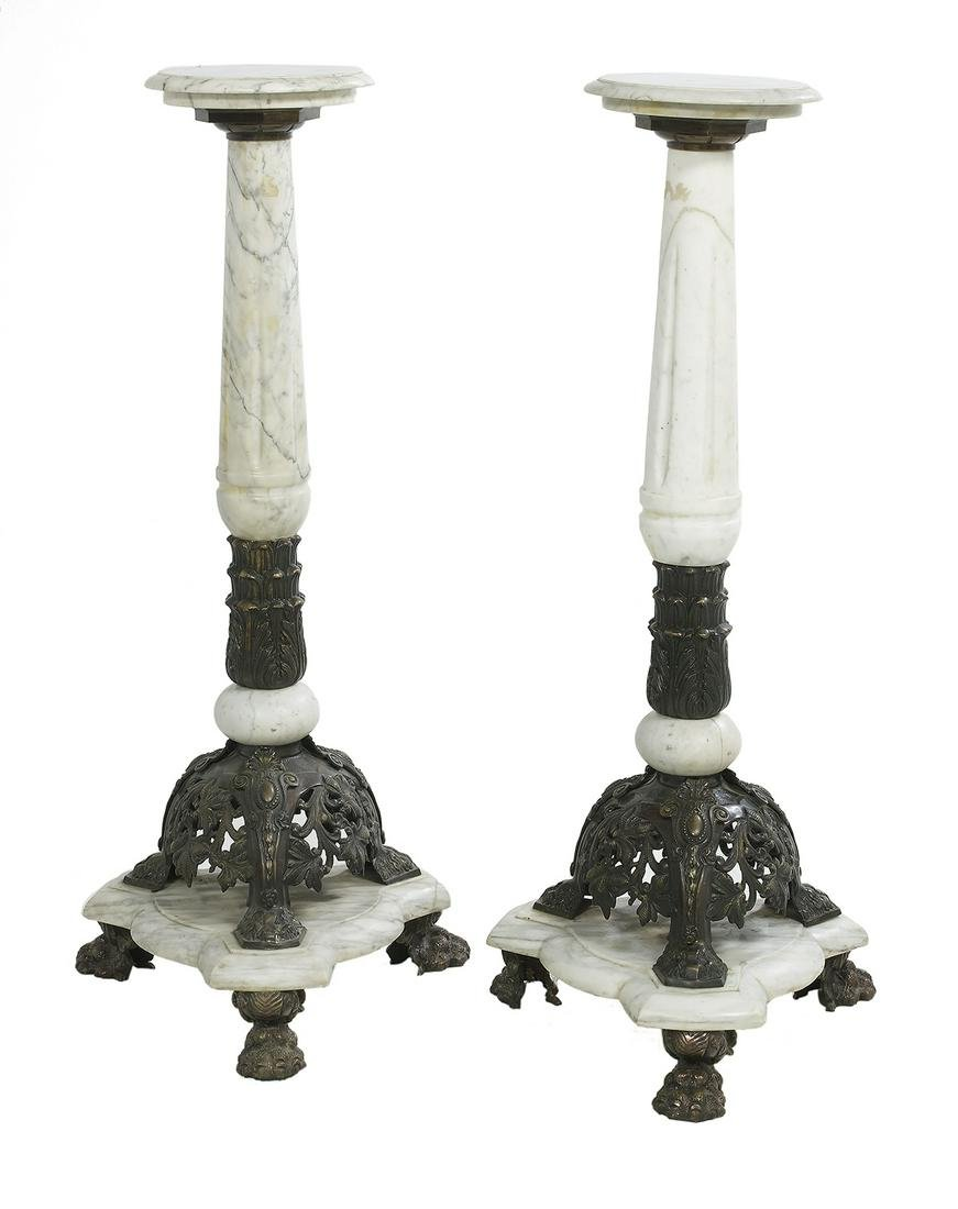 Pair of White Marble & Patinated Bronze Pedestals