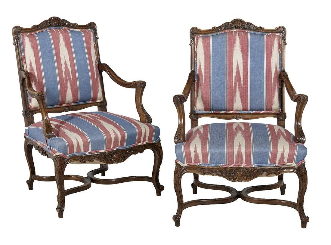 Pair of Louis XV-Style Mahogany Fauteuils