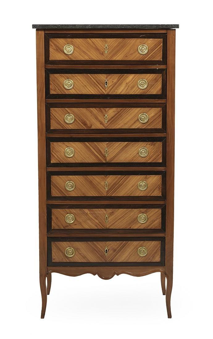 Louis XVI-Style Fruitwood & Marble-Top Semainier
