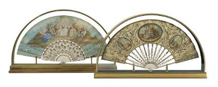 Two Continental HandPainted Paper Fans