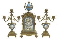 Three-Piece Gilt-Bronze and Porcelain Clock Set