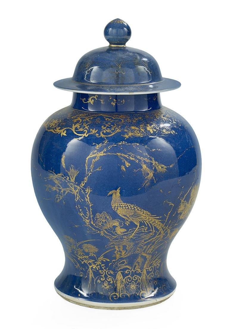 Chinese Powder Blue & Gilt Porcelain Covered Urn